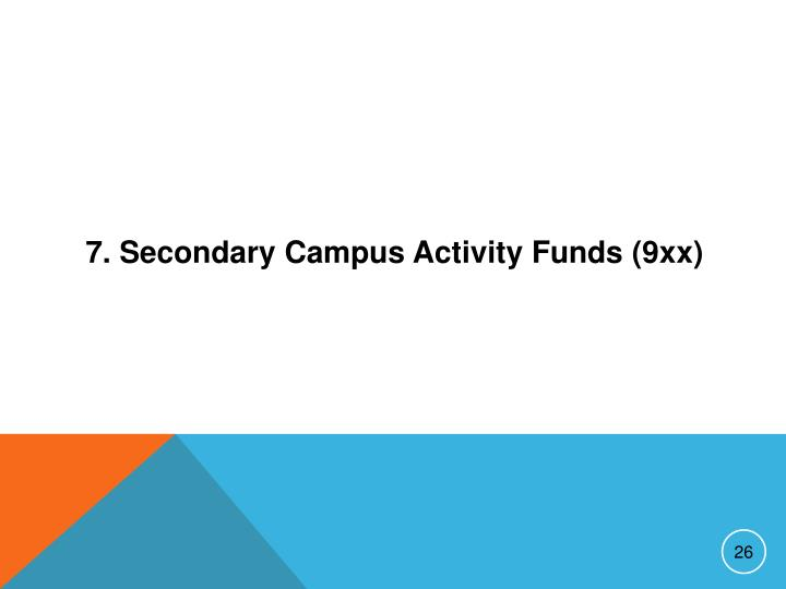 7. Secondary Campus Activity Funds (9xx)