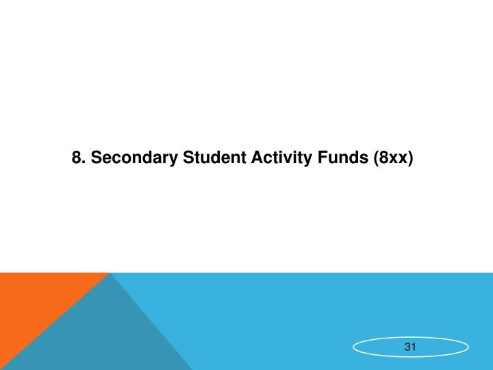 8. Secondary Student Activity Funds (8xx)