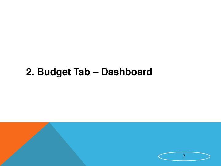 2. Budget Tab – Dashboard