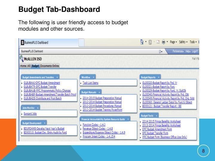 Budget Tab-Dashboard