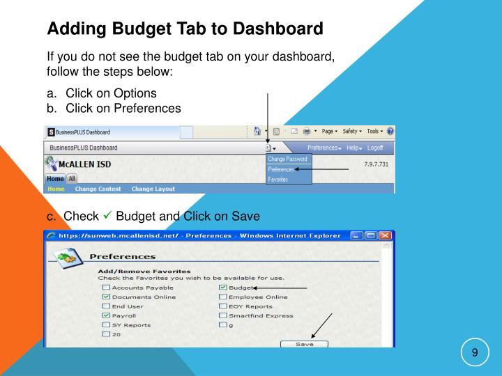 Adding Budget Tab to Dashboard