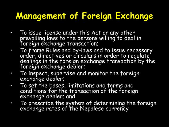 Management of Foreign Exchange