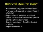 restricted items for import