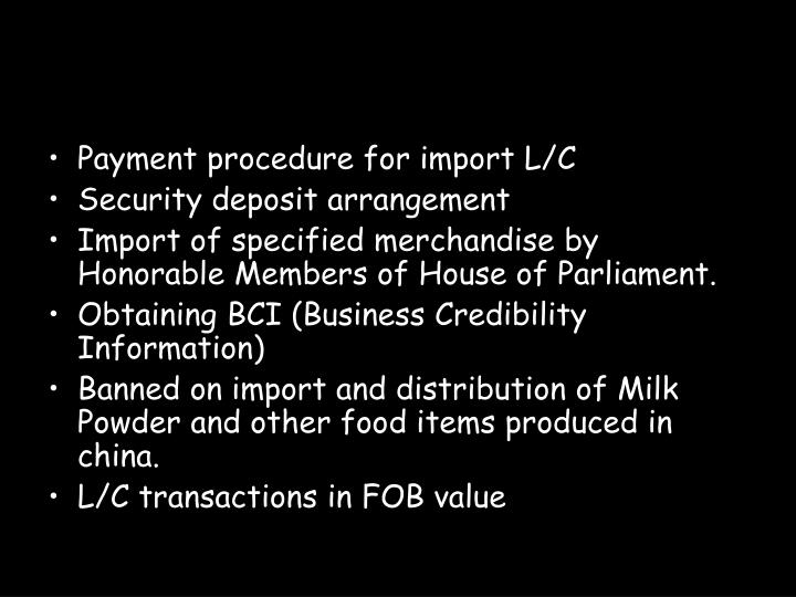 Payment procedure for import L/C
