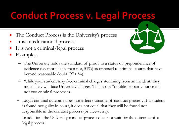 Conduct Process v. Legal Process