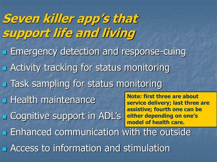 Seven killer app's that
