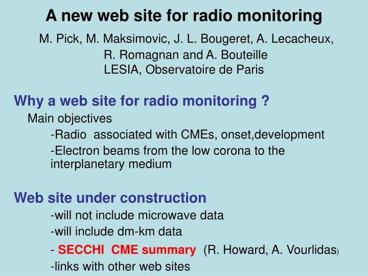 A new web site for radio monitoring