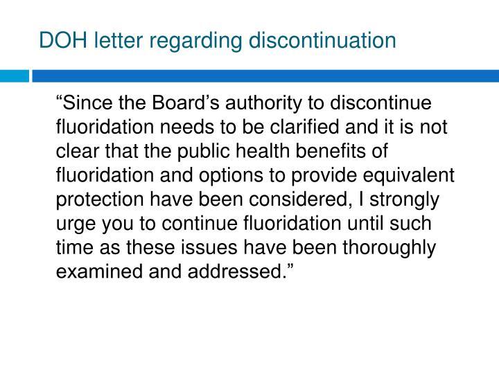 DOH letter regarding discontinuation