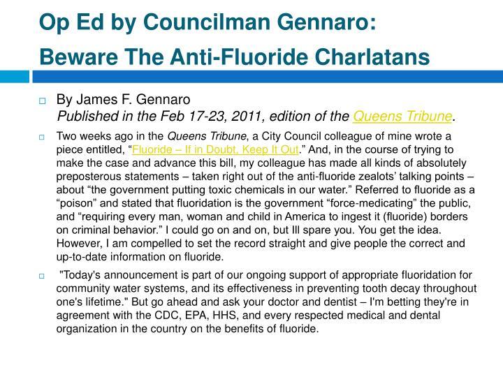 Op Ed by Councilman Gennaro: