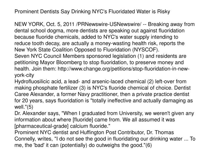 Prominent Dentists Say Drinking NYC's Fluoridated Water is Risky