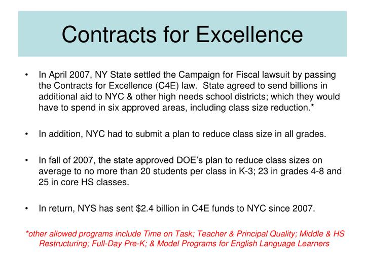 Contracts for Excellence