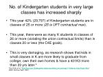 no of kindergarten students in very large classes has increased sharply