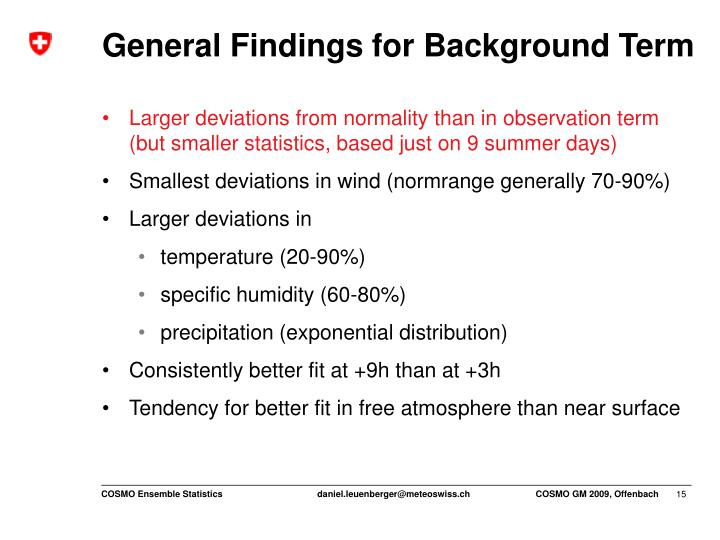 General Findings for Background Term