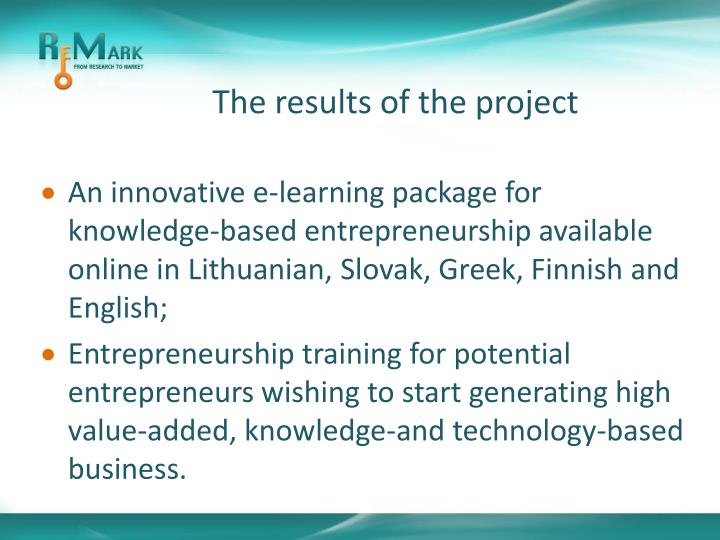 The results of the project