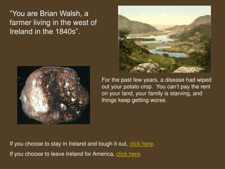 """You are Brian Walsh, a farmer living in the west of Ireland in the 1840s""."