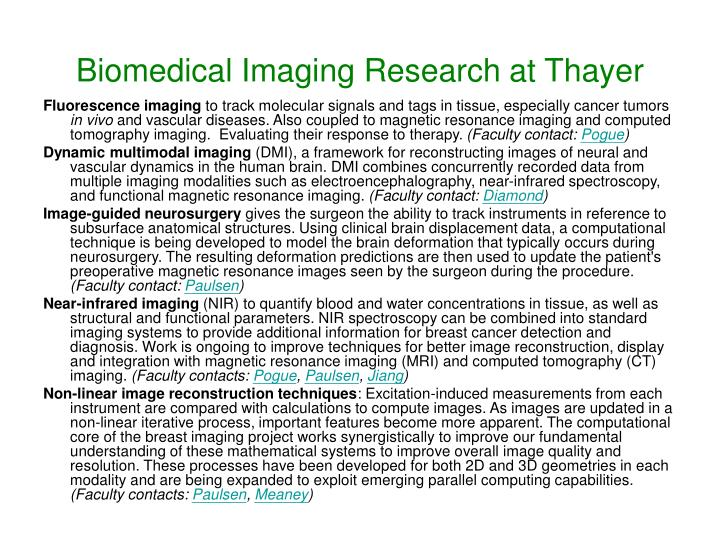 Biomedical Imaging Research at Thayer
