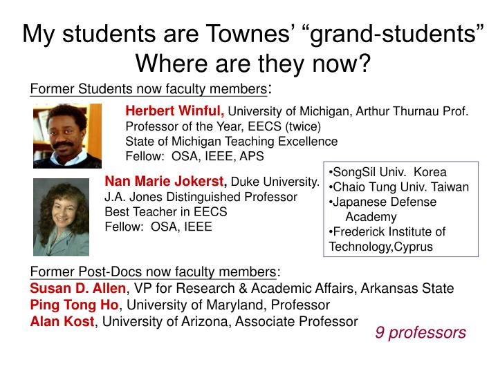 """My students are Townes' """"grand-students"""""""