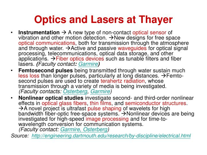 Optics and Lasers at Thayer