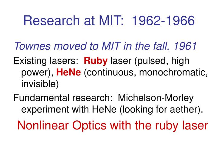 Research at MIT:  1962-1966