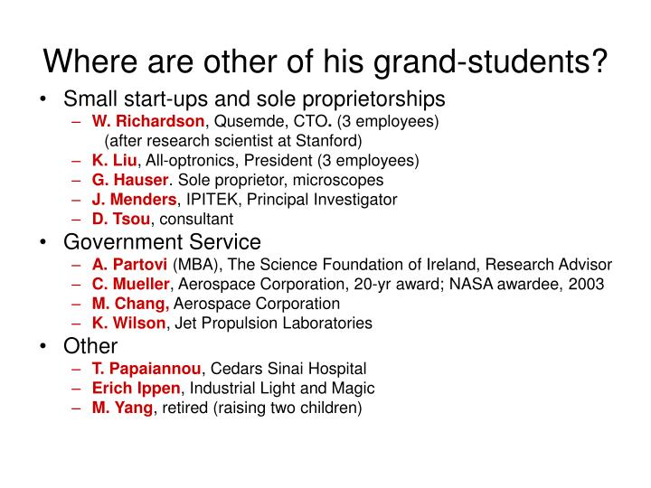 Where are other of his grand-students?