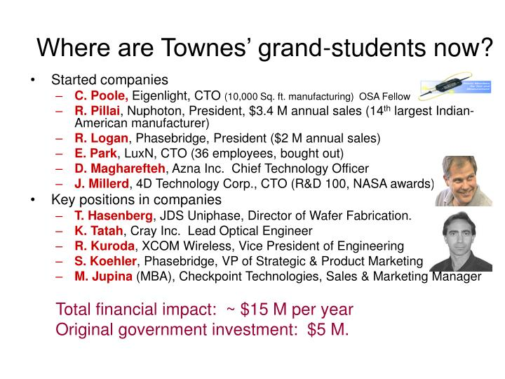 Where are Townes' grand-students now?
