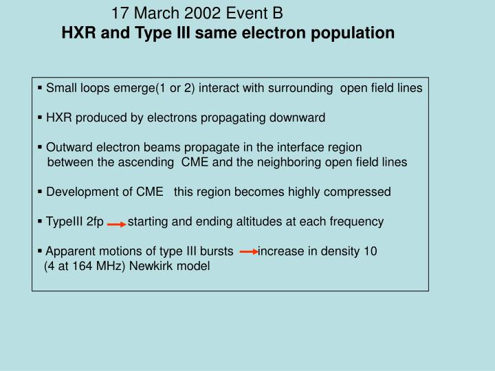 17 March 2002 Event B