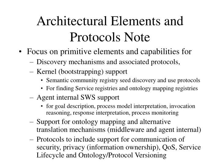 Architectural Elements and Protocols Note