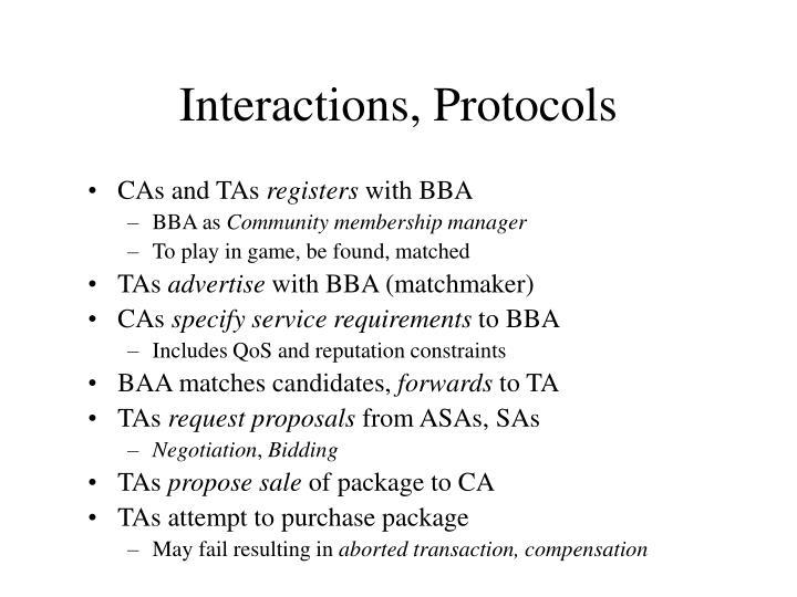 Interactions, Protocols