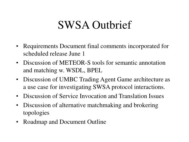 SWSA Outbrief