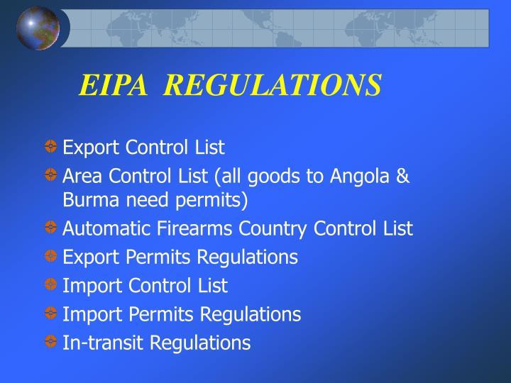EIPA  REGULATIONS