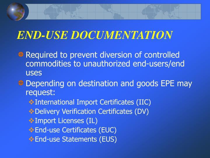 END-USE DOCUMENTATION