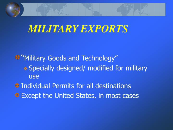 MILITARY EXPORTS