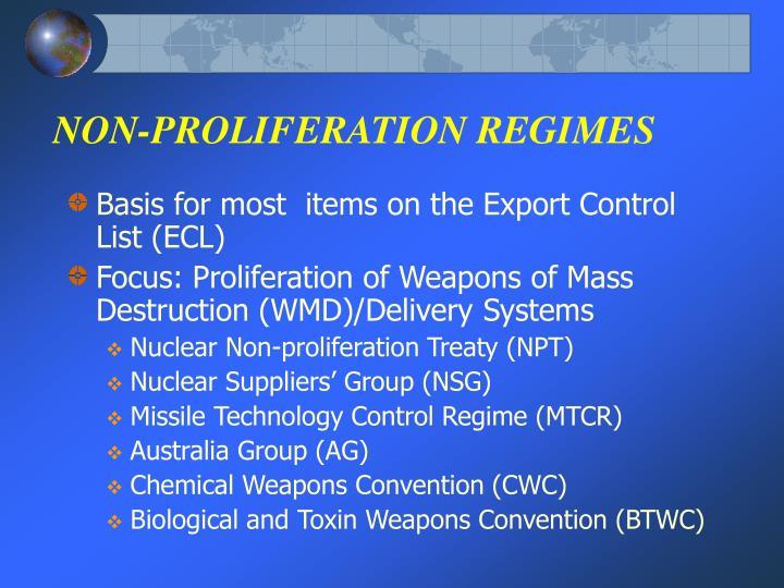 NON-PROLIFERATION REGIMES