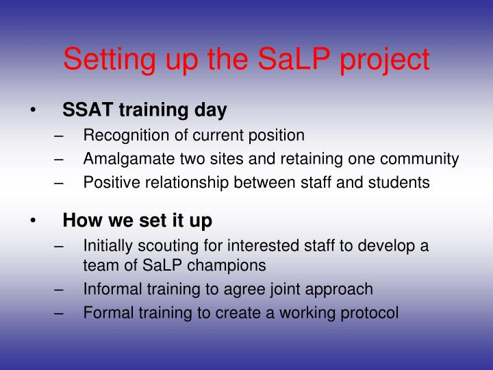 Setting up the salp project