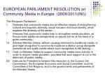 european parliament resolution on community media in europe 2008 2011 ini1
