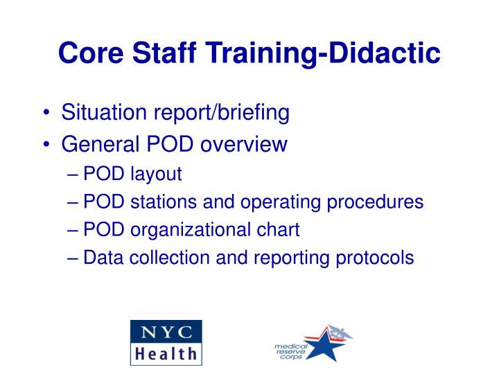Core Staff Training-Didactic