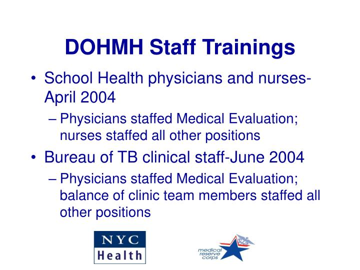 DOHMH Staff Trainings