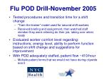 flu pod drill november 2005
