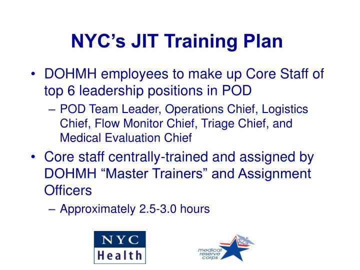 NYC's JIT Training Plan