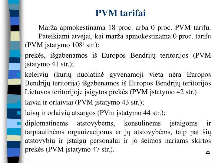 PVM tarifai