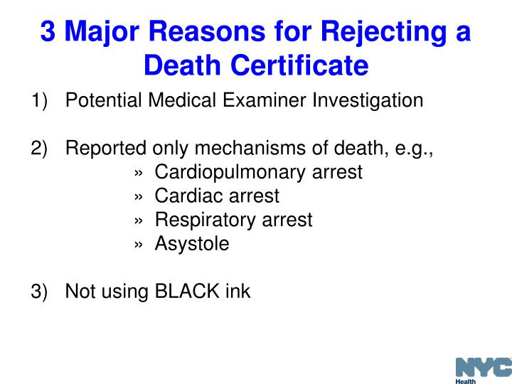 3 Major Reasons for Rejecting a Death Certificate