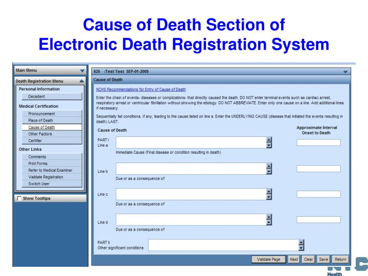 Cause of Death Section of