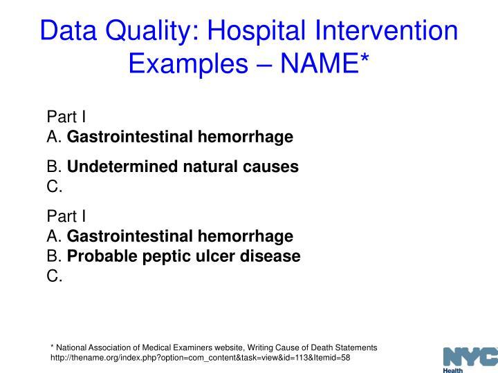Data Quality: Hospital Intervention