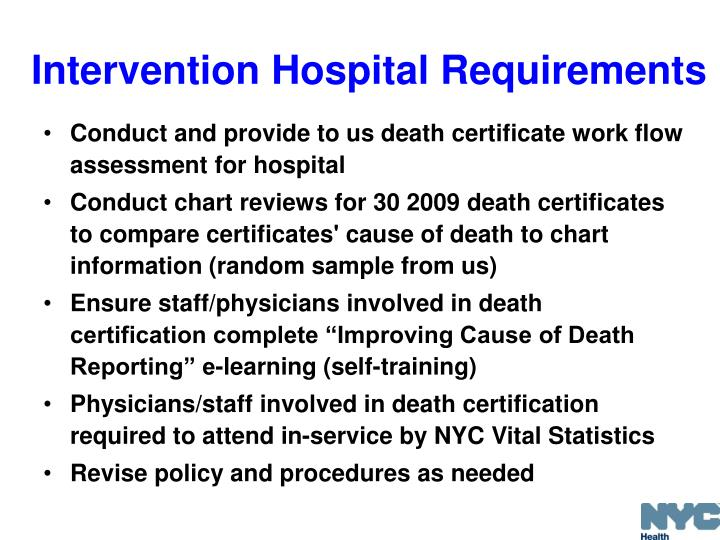 Intervention Hospital Requirements