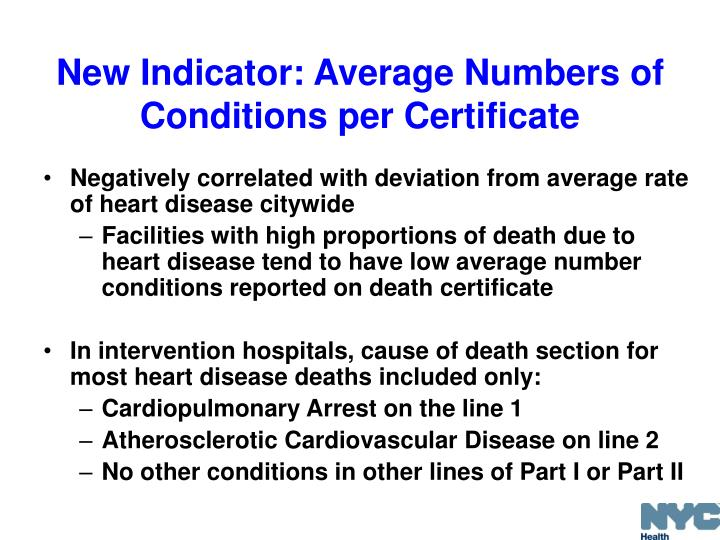 New Indicator: Average Numbers of Conditions per Certificate