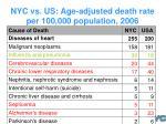 nyc vs us age adjusted death rate per 100 000 population 2006