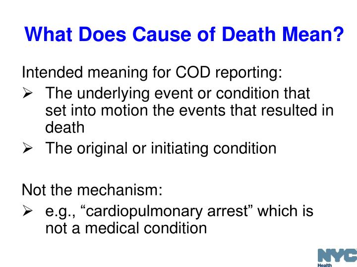 What Does Cause of Death Mean?
