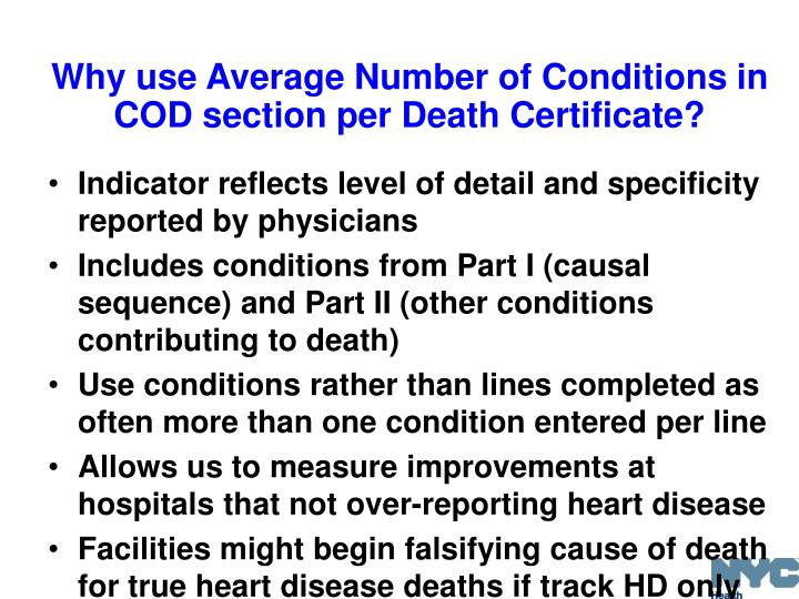 Why use Average Number of Conditions in COD section per Death Certificate?
