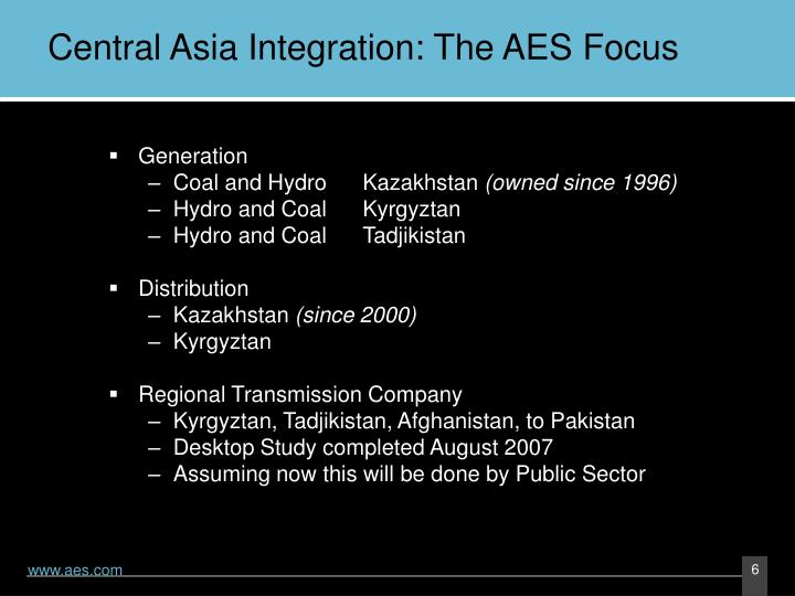Central Asia Integration: The AES Focus