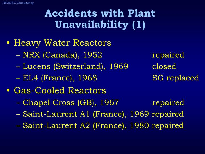 Accidents with Plant Unavailability (1)